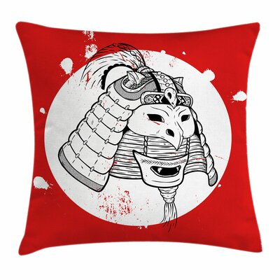 Kabuki Mask Asian Ethnic Mask Square Pillow Cover Size: 18 x 18