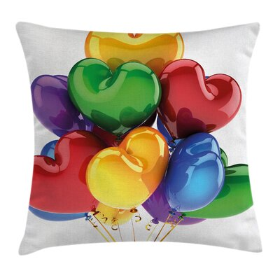 Valentines Day Party Balloons Square Pillow Cover Size: 24 x 24