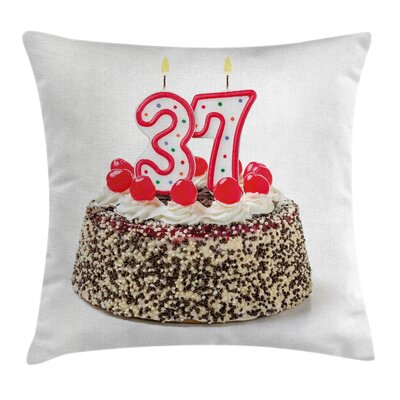 Birthday New Age Cake Greeting Square Pillow Cover Size: 18 x 18