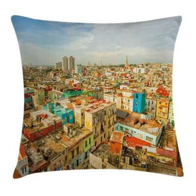 Travel Decor Havana City Houses Square Pillow Cover Size: 24 x 24