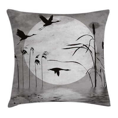 Grunge Heron Birds Pillow Cover Size: 18 x 18