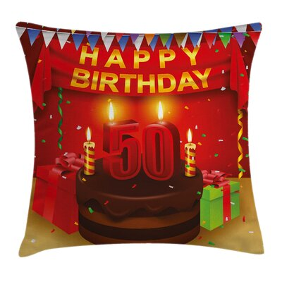 Celebration 50th Birthday Cake Pillow Cover Size: 18 x 18