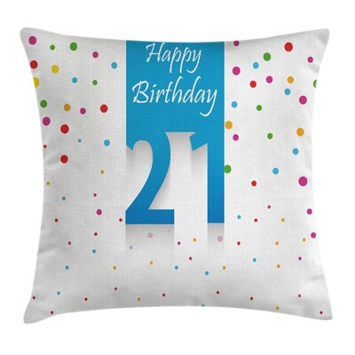 Happy Birthday Quote Pillow Cover Size: 18 x 18
