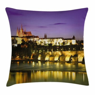 Travel Decor Charles Bridge Square Pillow Cover Size: 16 x 16