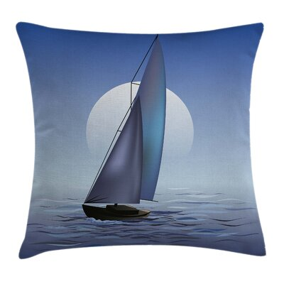 Nautical Sail Boat Wavy Serene Pillow Cover Size: 24 x 24