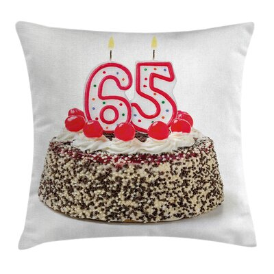 Birthday Number Candles Cake Square Pillow Cover Size: 20 x 20