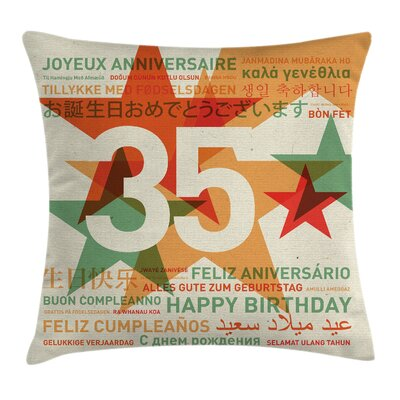Retro Greetings in Languages Square Pillow Cover Size: 18 x 18