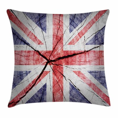 Union Jack Grungy Rustic Flag Square Pillow Cover Size: 16 x 16