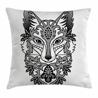 Fox Ornamental Fox Face Curves Square Pillow Cover Size: 16 x 16