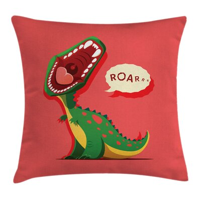 Dinosaur Cartoon Prehistoric Pillow Cover Size: 24 x 24