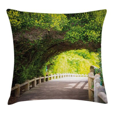 Forest Nature Boardwalk Archway Pillow Cover Size: 24