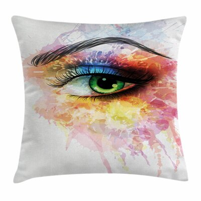 Eye Artistic Feminine Figure Square Pillow Cover Size: 18 x 18