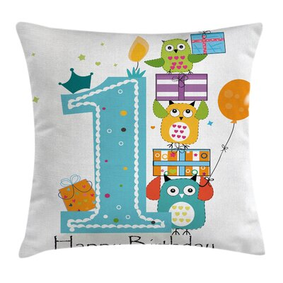 Birthday First Cake Candle Owls Square Pillow Cover Size: 16 x 16