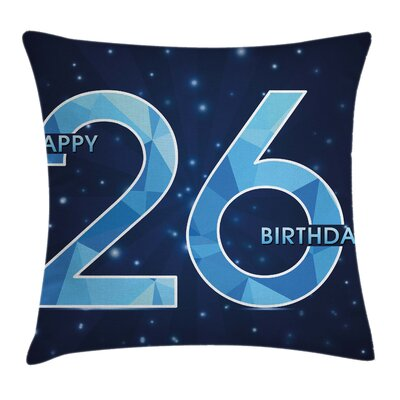 Dark Digital Fractal Wish Square Pillow Cover Size: 16 x 16