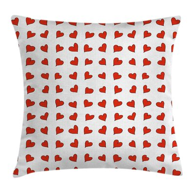Valentine Hearts Cute Honeymoon Pillow Cover Size: 18 x 18