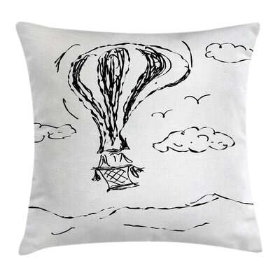 Sketchy Hot Air Balloon Clouds Pillow Cover Size: 24 x 24