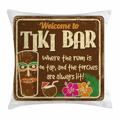 Tiki Bar Decor Aged Old Frame Square Pillow Cover Size: 24 x 24