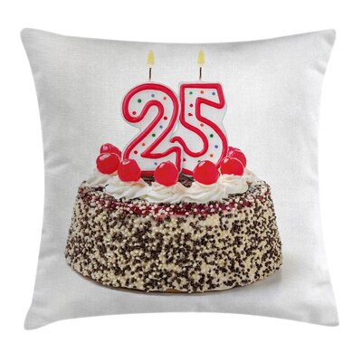 Party Birthday Cake Candles Square Pillow Cover Size: 18 x 18