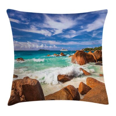 Tropical Rocky Coast Seychelles Pillow Cover Size: 16 x 16