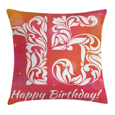 Girls Room Decor Teen Birthday Square Pillow Cover Size: 16 x 16