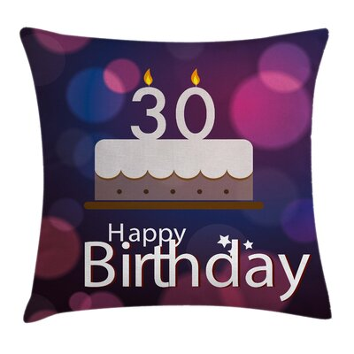 Abstract Birthday Cake Candles Square Pillow Cover Size: 18 x 18