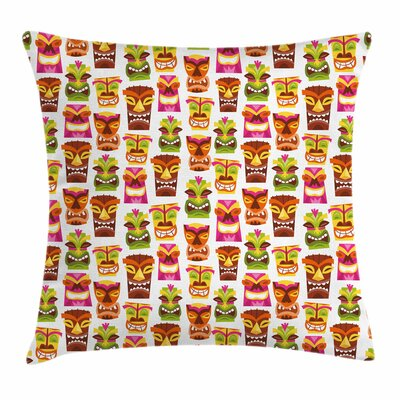 Tiki Bar Decor Retro Hawaiian Square Pillow Cover Size: 16 x 16