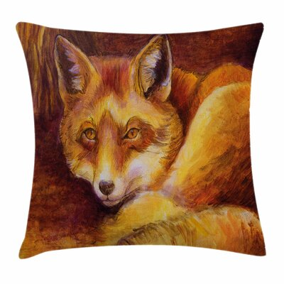 Fox Vibrant Art Fox Resting Square Pillow Cover Size: 16 x 16