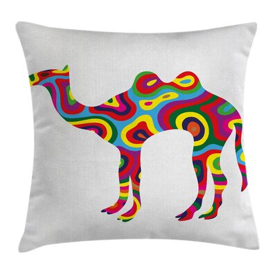 Trippy Abstract Camel Figure Pillow Cover Size: 24 x 24