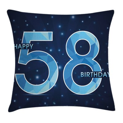 Number Night Sky Age Square Pillow Cover Size: 18 x 18