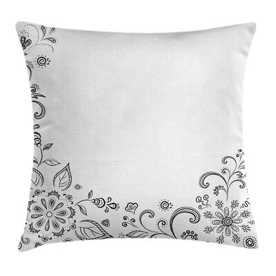 Floral Monochrome Sketchy Herbs Pillow Cover Size: 16 x 16