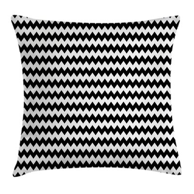 Chevron Zigzags Black Square Pillow Cover Size: 16 x 16