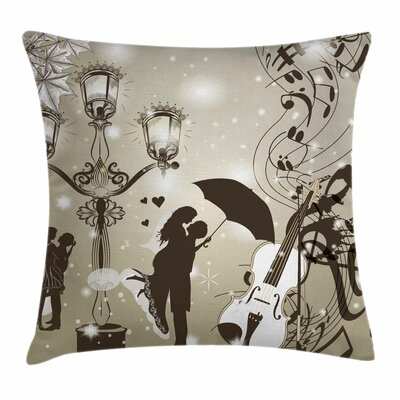 Valentine Kissing Couples Music Square Pillow Cover Size: 24 x 24