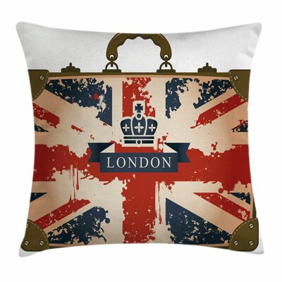 Union Jack Vintage Suitcase Square Pillow Cover Size: 16 x 16