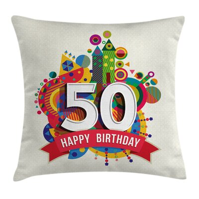 Festive Cartoon Birthday Poster Pillow Cover Size: 24 x 24