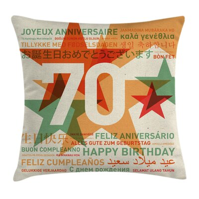 World Birthday Congrat Square Pillow Cover Size: 20 x 20