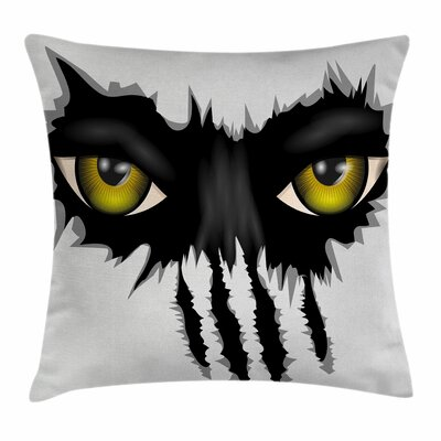 Eye Evil Eyes Cat Danger Square Pillow Cover Size: 16 x 16