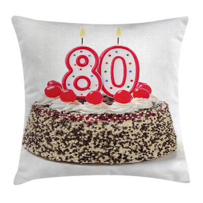 Colorful Party Cake Cherries Square Pillow Cover Size: 16 x 16