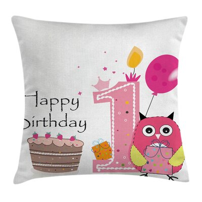 Cartoon First Birthday Cake Owl Square Pillow Cover Size: 18 x 18
