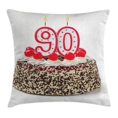 Party Birthday Cake Candles Square Pillow Cover Size: 16 x 16