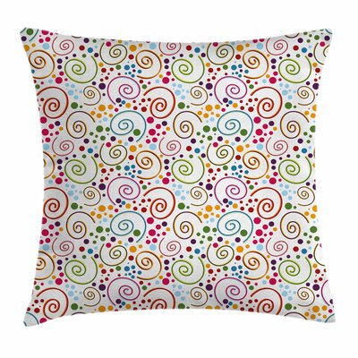 Colorful Vibrant Curls Spirals Square Pillow Cover Size: 18 x 18