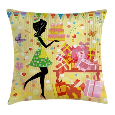 Party Woman with Birthday Cake Square Pillow Cover Size: 16 x 16