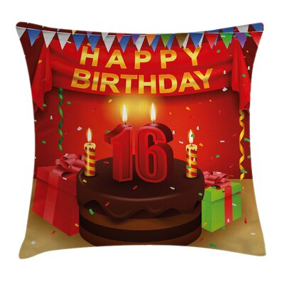 Fun Party Celebration Ribbon Square Pillow Cover Size: 16 x 16