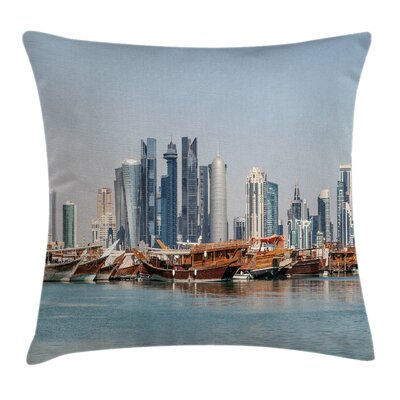 Coastal Qatar City Dhow Ships Pillow Cover Size: 16 x 16