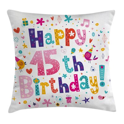 Colorful Teenage Girl Birthday Square Pillow Cover Size: 24 x 24