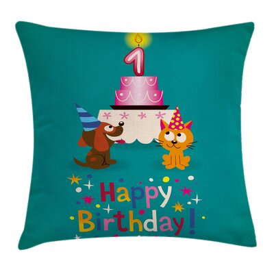 Colorful Birthday Party Cat Dog Square Pillow Cover Size: 16 x 16