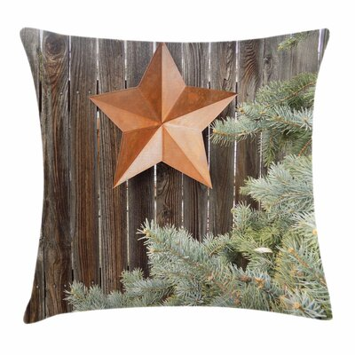 Primitive Country Star on Wood Square Pillow Cover Size: 24 x 24