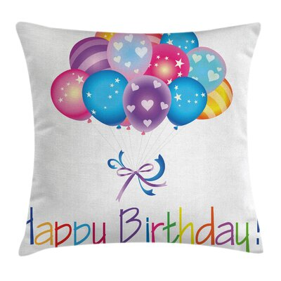 Birthday Balloon Bouquet Hearts Square Pillow Cover Size: 24 x 24