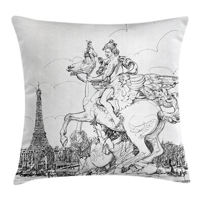 Antique Decor France Sculpture Pillow Cover Size: 16 x 16