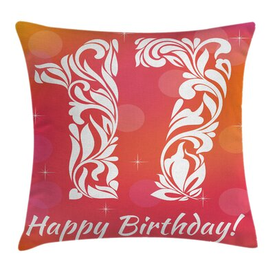 Abstract Floral Sweet Seventeen Square Pillow Cover Size: 18 x 18