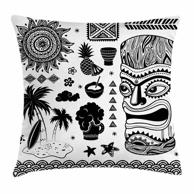 Tiki Bar Decor Tribal Figures Square Pillow Cover Size: 16 x 16